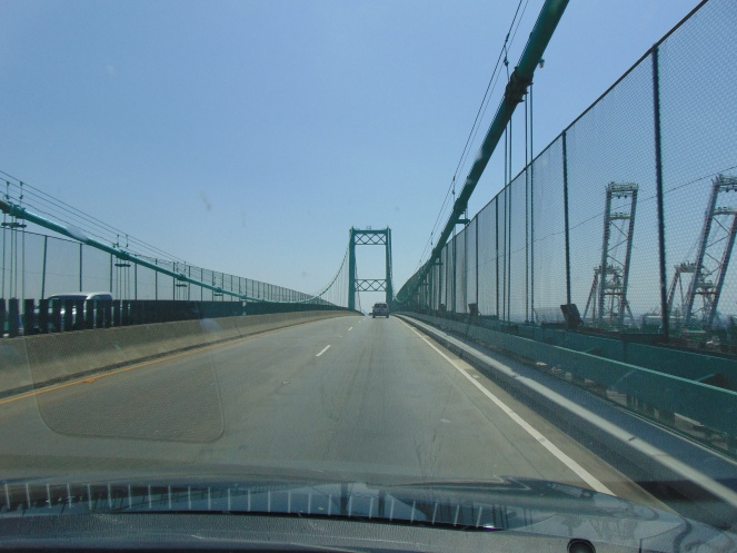 West bound on the Vincent Thomas Bridge. My kids and I spent many weekends in San Pedro, CA and loved going over this bridge.